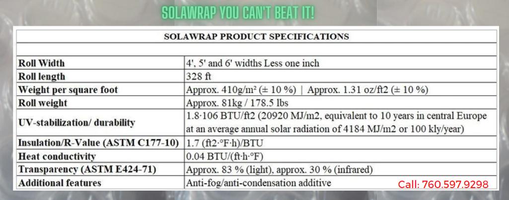 SolaWrap Greenhouse Plastic  Call 760 597 9298